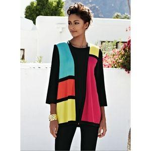Misook Rosalie 3/4 Colorblock Cardigan Size 2X